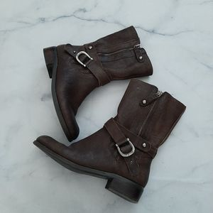 Marc Fisher Brown Leather Darlene Combat Boots